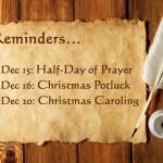 Reminders for December